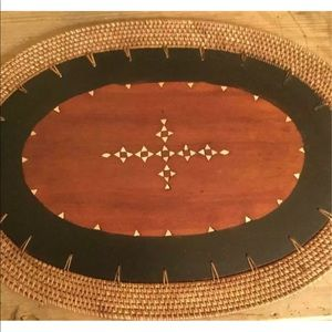 Other - SET OF 4 WOOD AND RATTAN PLACEMATS